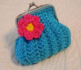 Turquoise Crochet Coin Purse with Flower and Snap Frame