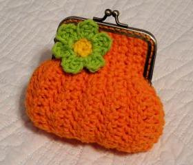 Orange Sunburst Crochet Coin Purse with Flower and Snap Frame