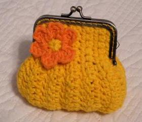 Deep Yellow Crochet Coin Purse with a Flower and Snap Frame