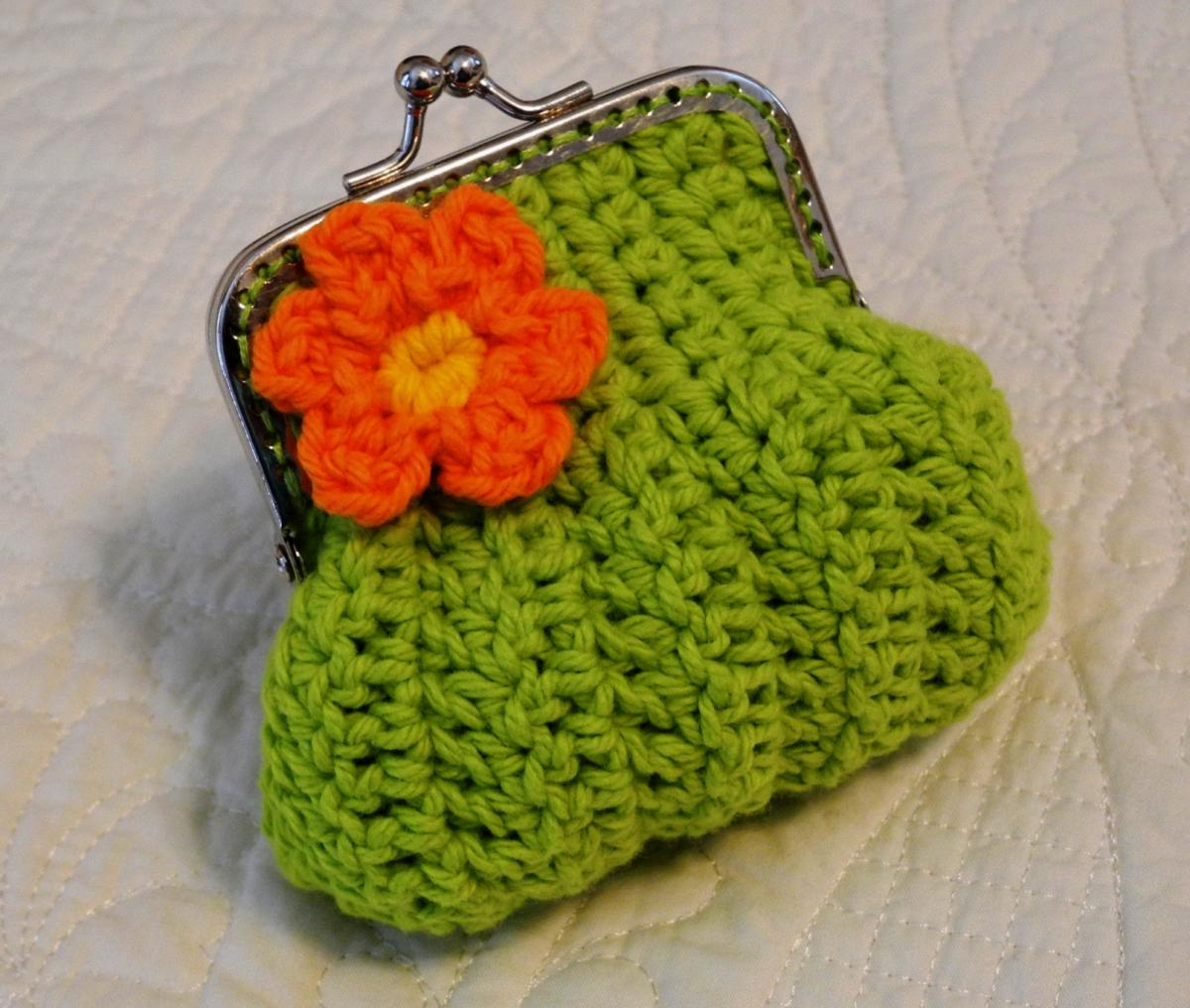 Coin Purse Crochet : coin purse with a flower and snap frame lime green crochet coin purse ...