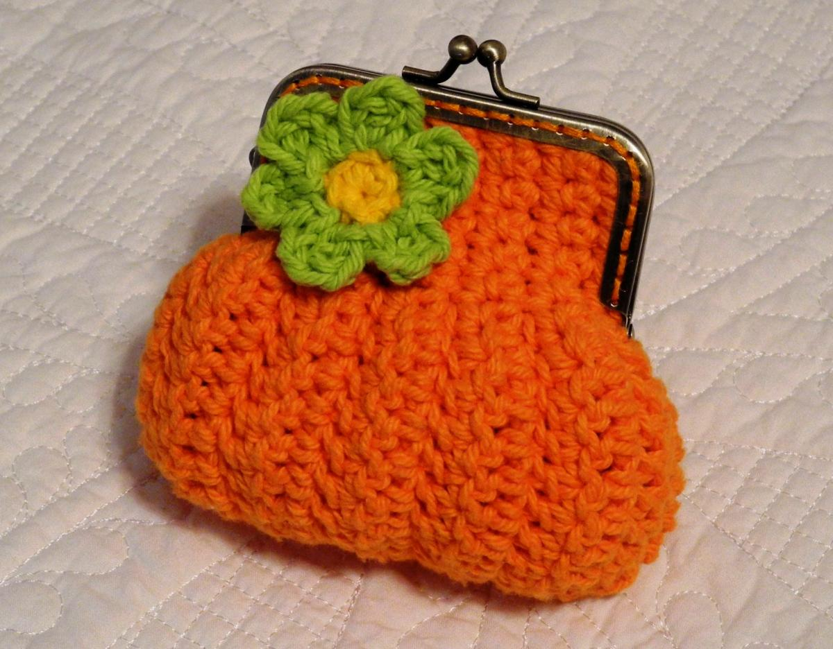 Orange Sunburst Crochet Coin Purse With Flower And Snap ...