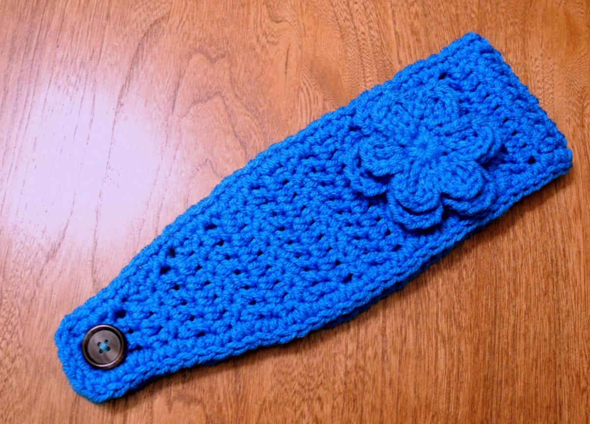 Blue crochet headband earwarmer headwrap with flower choose a